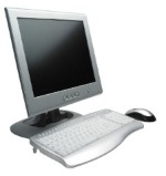 computer monitor, keyboard, and mouse