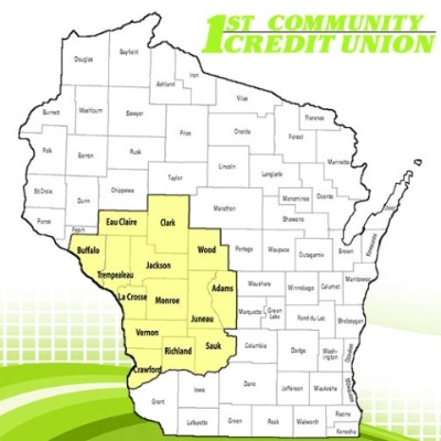Wisconsin map outlining 14 counties in Western Wisconsin.