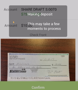 mobile deposit capture confirmation screenshot