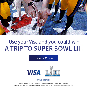 close-up image of coin toss at a football game. Use your Visa and you could win a trip to Super Bowl LIII. Learn More.