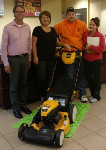 1st time home buyers with free lawnmower, pictured with Molli Hundt