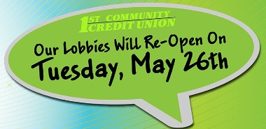 "speech bubble saying ""our lobbies will reopen on Tuesday, May 26th"""