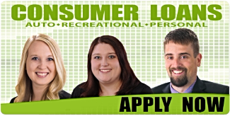 Consumer Loans. Auto, Recreational, Personal. Image of our lenders Kendra, Leianna, and Zach. Click to Apply Now