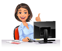 illustrated woman at a computer, smiling and holding a thumb up