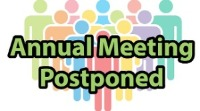 multicolor silhouettes of people. Annual Meeting Postponed.