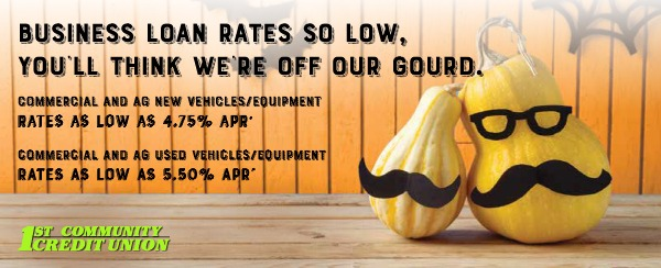 two gourds with funny mustaches. Business loan rates so low, you'll think we're off our gourd.
