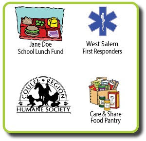logos and clipart for First Responders, Food Pantry, Humane Society, and Jane Doe School Lunch fund.