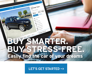 person looking at a vehicle online. Buy smarter. Buy stress free. Easily find the car of your dreams. Let's Get Started.