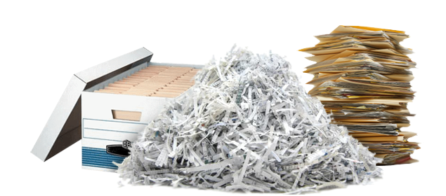 box of files, shredded paper, and stack of files.